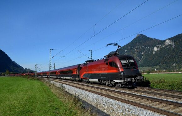 Railjet Train on the route of Norwegian Railways