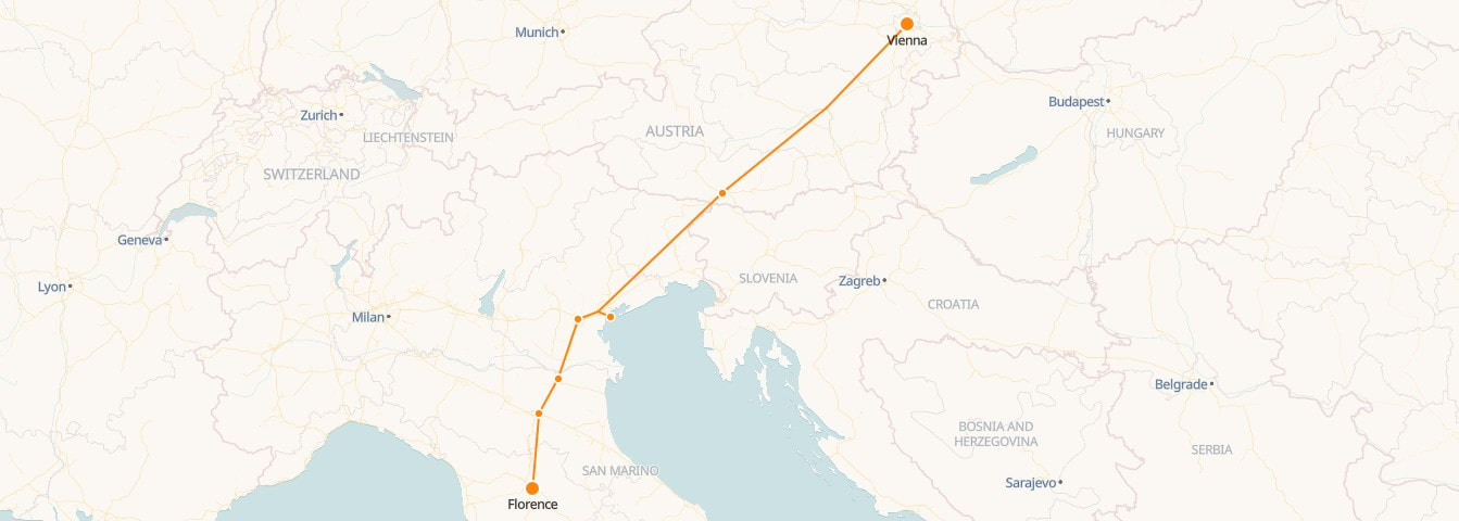 Venice to Vienna Railway Map